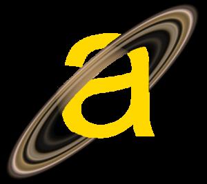 """Logotipo Astronomipedia (una letra """"a"""" minúscula de color amarillo con los anillos de Saturno rodeándola)"""